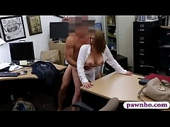 Business lady drilled by nasty pawn man in his pawnshop