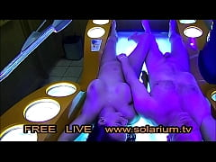 2 Hot Fuck Couple fucks in  Public Live Voyeur Solarium he blows him and then fucks her on the sunbed Big horny tits