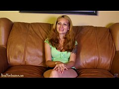Big boob mom on casting couch strips and plays