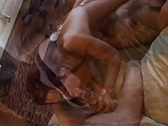 Lusty redhead with small tits gets double penetrated by two hard cocks