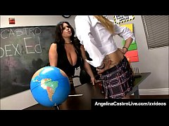 Cuban Instructor, Miss Angelina Castro, has a mouth fucking class with 2 unruly students, Tara Lynn Holmes & hard cock Chris! Watch this crazy classroom threesome with Blowjobs, Footjobs & lots of cum!