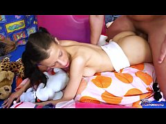 Young pigtailed babysitter fucks her boss in bed