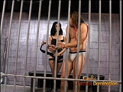 Hot raven-haired domina Leah Wilde sits on a hung dude's face