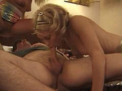 Blondes ride and suck cock
