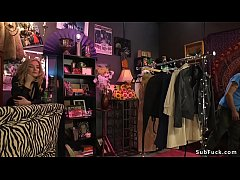Hot blonde mistress Mona Wales made dude in her shop lick pussy then through hole in wooden box