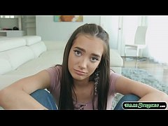 Stepteen calls her stepdad and asks him if she can have his credit card for shopping.Stepdad says no and she tells him that she can be his wife too.She throats his cock and in return stepdad fucks her pussy and cums on her face.