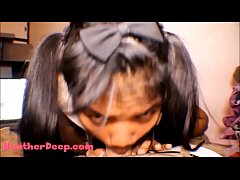 HD Thai Teen Heather Deep gives deepthroat throatpie for new laptop tablet new