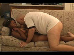 Black girl jerks off a fat white cock