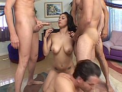 Melanie Taylor does her best to deepthroat these two pistons
