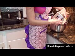 canadian milf shanda fay gets a load of jizz on her face in the kitchen