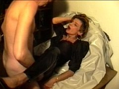 Sperm-Traudl with crotchopen pvc trousers  gets a fuck without foreplay