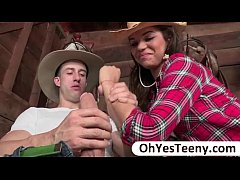 Teen Gabriella is amuse to a big cock cowboy and she gets fucked