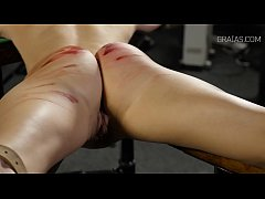 Helpless girl whipped by two