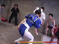 Chun-Li Cosplay Japanese Babe groped in huge bukkake gangbang