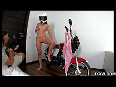 Anal sex on stepdaddy motorcycle and creampie in the ass. Vira Gold with Katty West