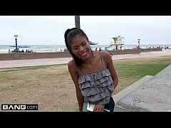 Barely legal Ebony teen Nia Naccis tight pussy gets stretched