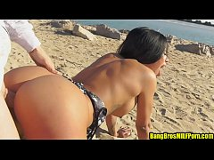 Beautiful MILF fucked on the beach