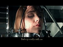 Young Alexis restrained in bondage devices and vibed hard