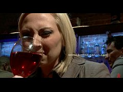 Blonde forced to fuck bar mates in deep r ...