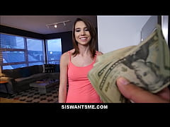 very sexy young petite stepsister with a perfect body wants to fuck her stepbrother for cash pov