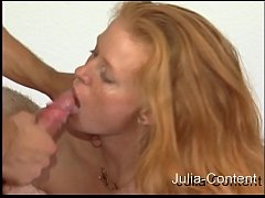 Redhead housewife fucked on the sex couch