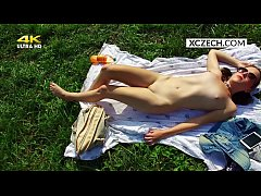 Czech young teen girl masturbating outdoor