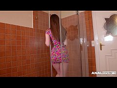 Anal inspectors double penetrate Milf Stella Cox in the bathroom until she cums