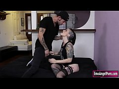 Tattooed Rizzo Ford is alone in the house, she removes her panty and masturbates her wet pussy. She was so shocked because Gage is watching her masturbating. Instead of getting mad she sucks Gage cock and lets him fucks her tight ass.