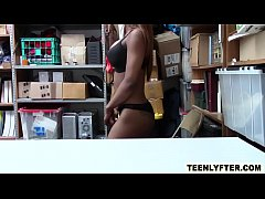 Hot ebony babe fucked rough by security for stealing