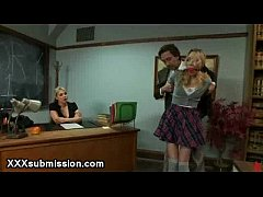 Huge dick dean waxed two babes in bondage in be...
