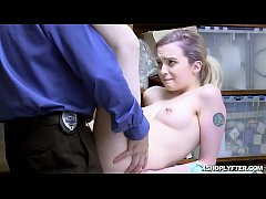 Shoplyfter Lexi Lore giving a blowjob