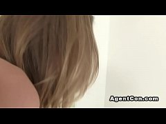Beautiful eyed blonde bangs fake agent
