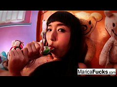 HD Marica plays with candy cock