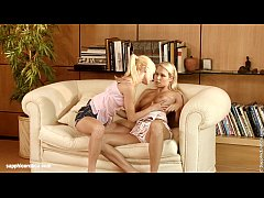 Bubbly Blondes Alison and Celine have sexy lesbian fun in the bed