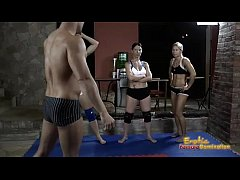 Gorgeous Girls Wrestling One Muscly Guy 1