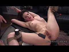 Tied up in ropes brunette anal pounded