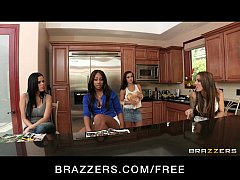 Three Hot & Mean lesbians fuck their neighbor with a strap-on