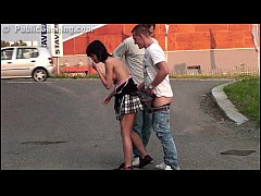 Petite cute teen girl fucked by big dicks in PUBLIC