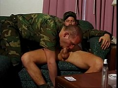 Naughty army dudes have hot threesome