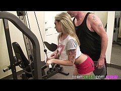 TheRealWorkout Tattooed smalltits blonde Bailey Blue fucks trainer