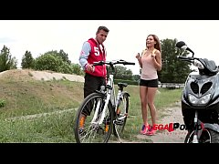 Athletic hot babe Subil Arch sucks & fucks biker's big hard boner at home GP690