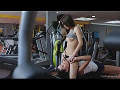 Slender cutie Ginger Fox visits fitness trainer Nataly Gold
