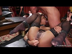 Slaves fucking and getting whip in bdsm orgy party