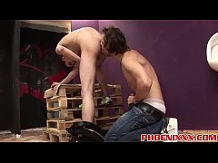 Two hot dudes enjoying blowjobs and hard barebacking