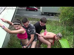 Cum on Krystal Swift face in PUBLIC foursome by a highway