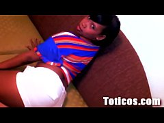 Phat-booty Dominican chick throats a black cock and swallows cum