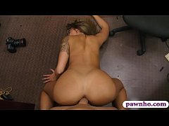 Big boobs woman with glasses gets railed by pawn guy