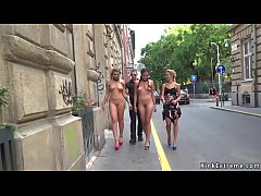 Two hot European naked teen slaves Vyvan Hill and Dolly Diore walked on city streets by master and mistress and disgraced