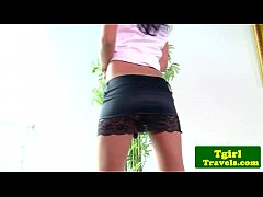 Ladyboy toying ass and jerking