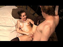 Tattooed brunette Aria Aspen having real orgasm from big cock